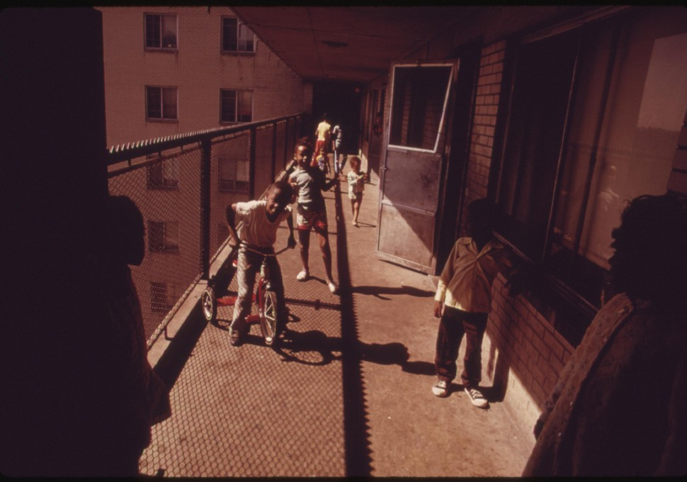 Black Residents On One Of The Balconies Of The Robert Taylor Homes